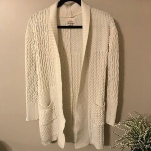 Cream Open Front Long Knit Cardigan